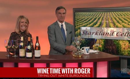 Pouring White Burgundies on Roger Hedgecock TV Show