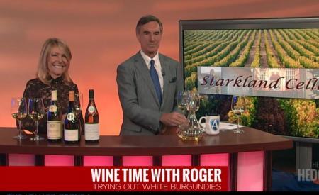 Pouring White Burgundies on Roger Hedgecock TV Show